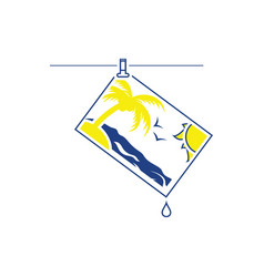 Icon of photograph drying on rope vector