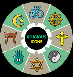 infographic set of religious icons vector image