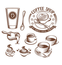 Isolated brown color cup in retro style logos set vector