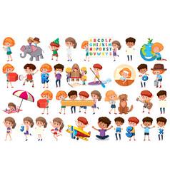 Large set children doing different activities vector