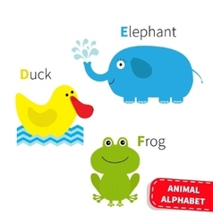 Letter D E F Duck Elephant Frog Zoo alphabet vector image