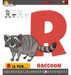 letter r worksheet with cartoon raccoon vector image