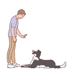 Man training a dog to understand command sketch vector