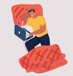 Man with laptop computer and smartphone in bed vector
