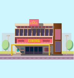 Mobile theater building flat vector