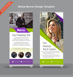 Modern neon green and white rollup banner vector