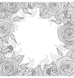 Monochrome frame flowers vector