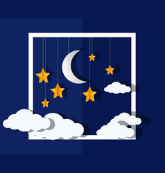 Moon and stars paper-art vector