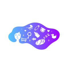 mother child with cloud hair vector image