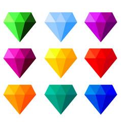multicolor cartoon gemstone set vector image
