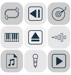 multimedia icons set with synthesizer dj disc vector image