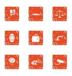 Nano robot icons set grunge style vector