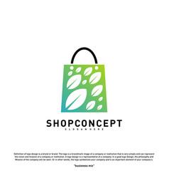 nature shop logo design concept shopping center vector image
