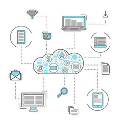 Network cloud service linear style infographics vector