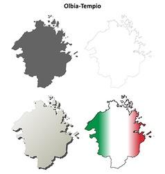 Olbia-tempio blank detailed outline map set vector