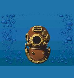 old diver helmet vector image