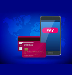 Online mobile payment payment by card personal vector