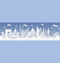 Paper cut landmarks travel world background vector