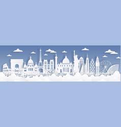 paper cut landmarks travel world background vector image
