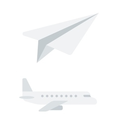 Passenger airplane and paper plane vector image