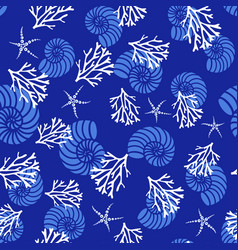 pattern with corals and shells vector image