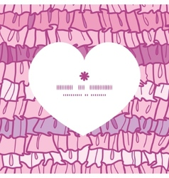 Pink ruffle fabric stripes heart silhouette vector