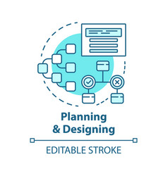 planning and designing concept icon system vector image