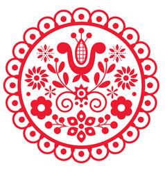 Polish cute folk art round framed design vector