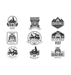 Quad bike rental service black and white emblems vector