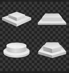 realistic detailed 3d white blank podiums template vector image