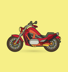 Red motorbike side view graphic vector