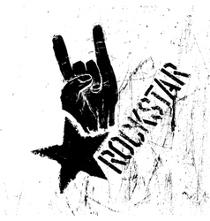 Rockstar symbol with rock on gesture vector