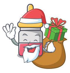 santa with gift nassal drop mascot cartoon vector image