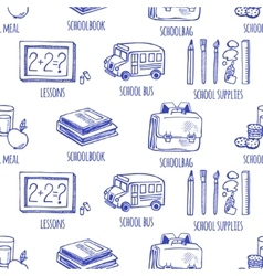 School tools sketch icons seamless pattern vector