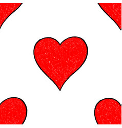 Seamless pattern red heart vector