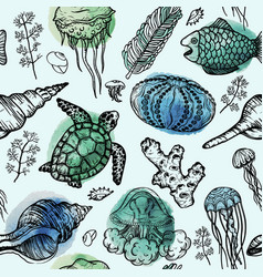 Seamless pattern with sketch of sea shells vector
