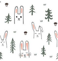 seamless pattern with sweet bunnies and trees vector image