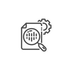 seo stats line icon settings cogwheel sign vector image