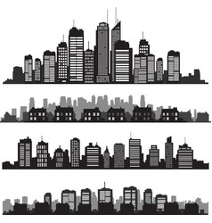 set cities silhouette and buildings vector image