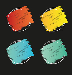 set grunge brush paint texture design vector image