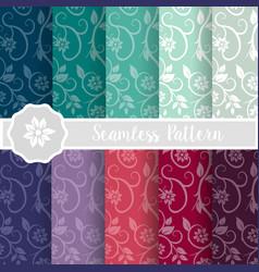 set of flower floral nature vector image