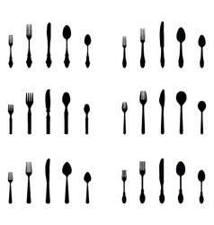 silhouettes of cutlery vector image vector image