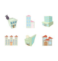 sky buildings icon set cartoon style vector image