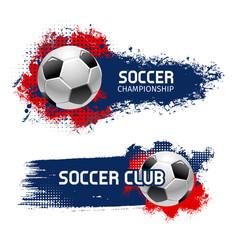 Soccer ball banner set football sport game design vector
