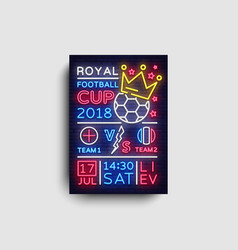 soccer poster neon royal football cup 2018 vector image