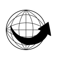 Sphere planet with arrow around vector