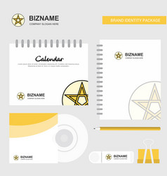 star logo calendar template cd cover diary and vector image