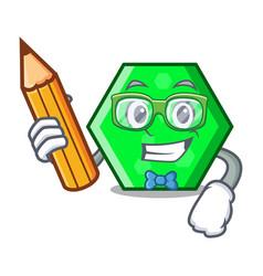 Student octagon character cartoon style vector