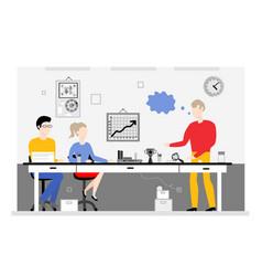 team work in office banner - busines meeting of vector image