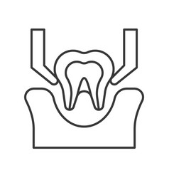 Tooth extraction simple outline icon dental care vector